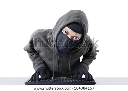 Computer hacker - Male thief stealing data from computer. isolated on white background