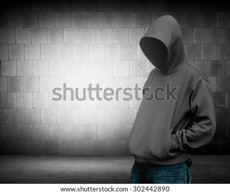 Computer hacker silhouette of hooded man. Threat of your security - stock photo
