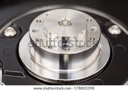Computer Hard Disk Drive Spindle Close Up