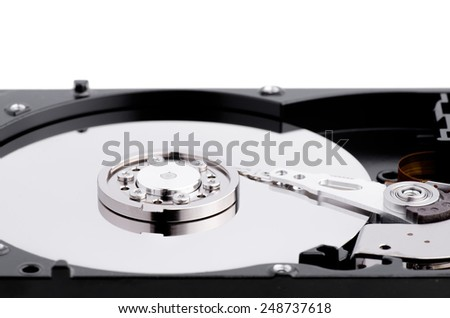 Computer Hard Disk Isolated On White  - stock photo