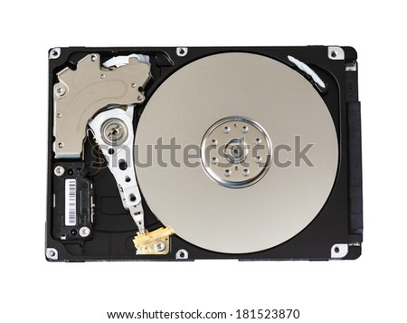 computer hard drive isolated - stock photo
