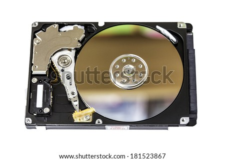 computer hard drive with disk reflections