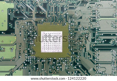 Computer hardware motherboard concept of data pathway - stock photo