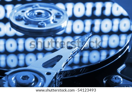 computer hdd with digital data from the internet - stock photo