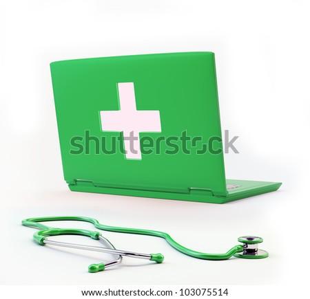 Computer health concept - 3d illustrtion - stock photo