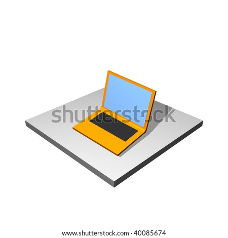 Computer Icon Isolated on a White Background