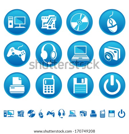 Computer icons. Raster version of EPS image 28228558 - stock photo