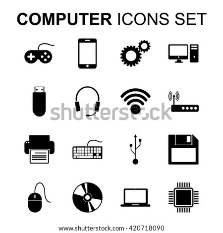 Computer icons set. Technology silhouette symbols. Flat design illustration