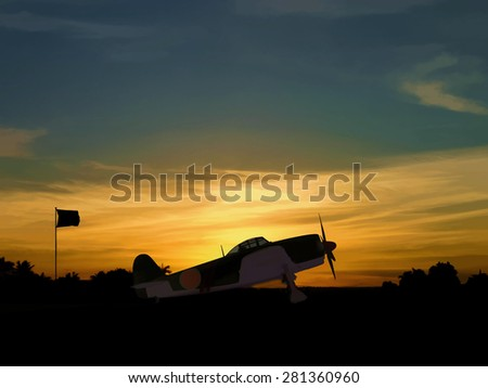 Computer Illustration - Silhouette of Japanese World War 2 fighter aircraft at sunrise. Japanese empire covered large parts of Asia and the pacific in the 20th century.