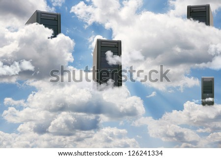 Computer  in a cloudy sky as a symbol for cloud-computing - stock photo