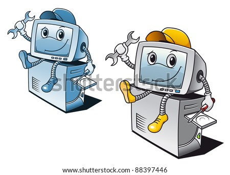 Computer in cartoon style for repair service concept. Vector version also available in gallery - stock photo