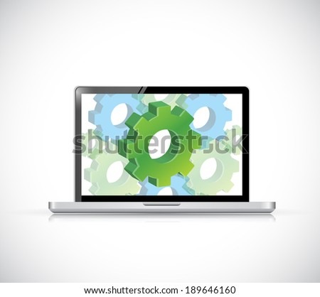 computer industrial gear illustration design over a white background - stock photo
