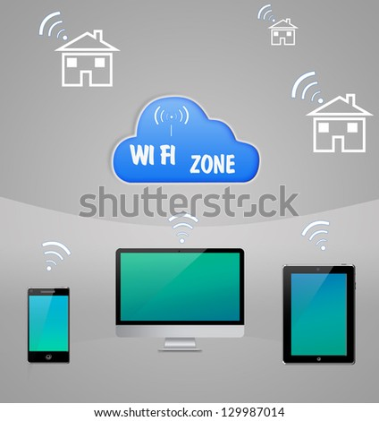 Computer Internet Cloud Technology WI-fi Communication - stock photo