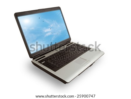 computer isolated on white background with clipping path - stock photo