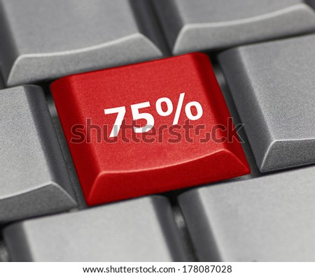Computer key - 75% - stock photo