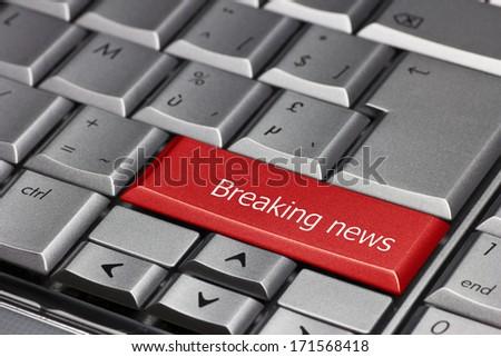 Computer Key - Breaking News - stock photo