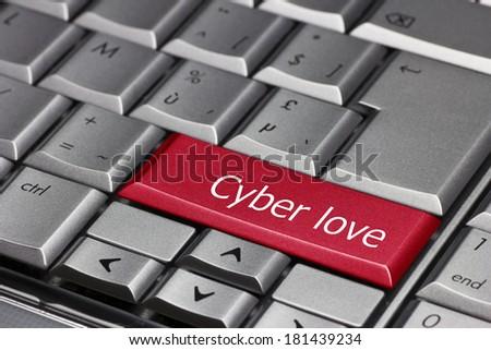 Computer key - Cyber Love - stock photo