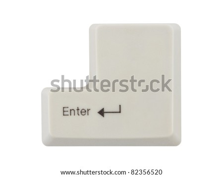 Computer key Enter isolated on white background - stock photo