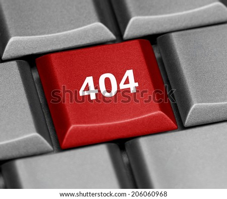 Computer key - 404 error - stock photo