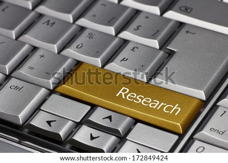 Computer Key gold - Research  - stock photo