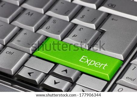 Computer Key green - Expert - stock photo
