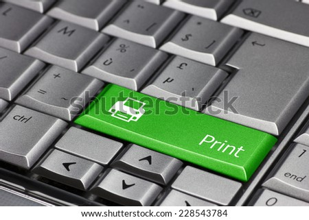 Computer key green - Print with printer symbol - stock photo