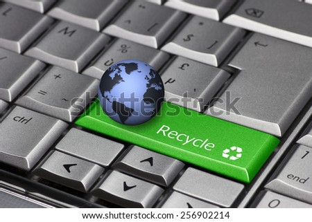 Computer key green with globe - Recycle and recycle symbol - stock photo