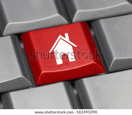 Computer key - homepage or real estate - stock photo