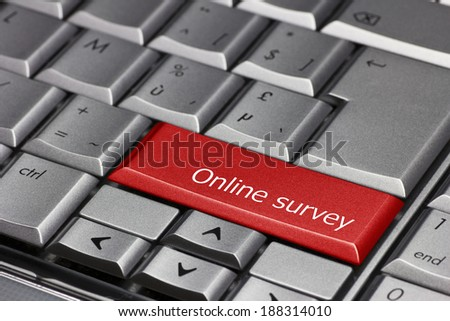 Computer Key - Online Survey - stock photo