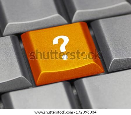 Computer key orange - question mark  - stock photo