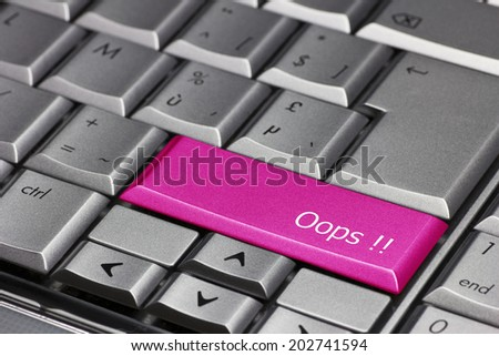 Computer key pink - Oops!  - stock photo