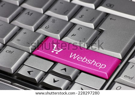 Computer key pink - Webshop with cart symbol