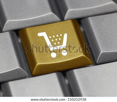 Computer key - Shopping cart - stock photo