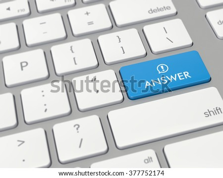 Computer key showing the word answer with icon