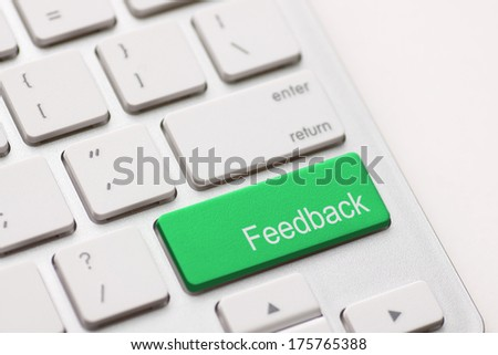Computer key showing the word Feedback. Message on keyboard key. - stock photo