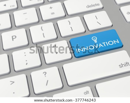 Computer key showing the word innovation with icon