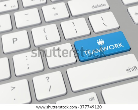 Computer key showing the word teamwork with icon