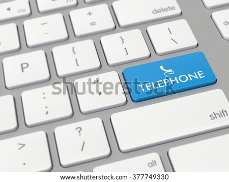 Computer key showing the word telephone with icon