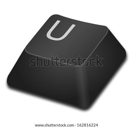 Computer Key - U - stock photo