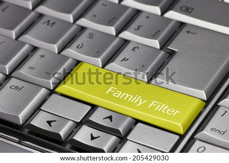 Computer key yellow - Family filter - stock photo