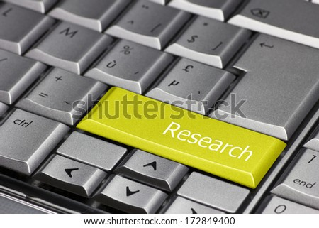 Computer Key yellow - Research  - stock photo