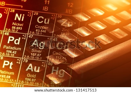Computer keyboard periodic table yellow light stock photo royalty computer keyboard and periodic table in yellow light science background urtaz Choice Image