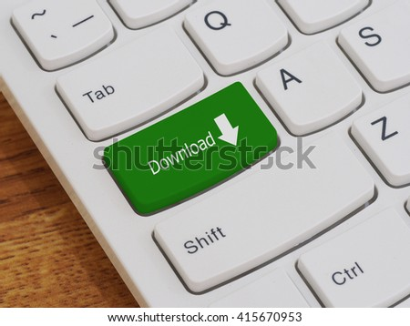 Computer keyboard button with Download text