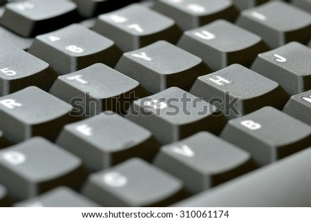 Computer keyboard. Close up of keys, focusing on the letter H.