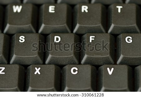 Computer keyboard. Close up of 12 keys with very shallow depth of field.