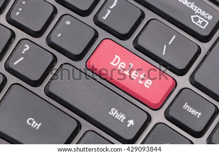 """Computer keyboard closeup with """"Delete"""" text on red enter key - stock photo"""