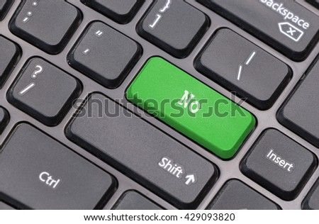 "Computer keyboard closeup with ""No"" text on green enter key - stock photo"