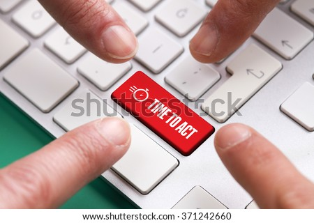 Computer Keyboard Concept: Many fingers pushing red TIME TO ACT keyboard button - stock photo