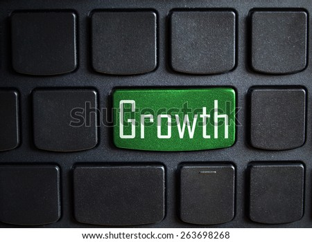 computer keyboard enter button with word growth - stock photo