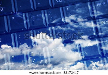 computer keyboard for cloud computing - stock photo